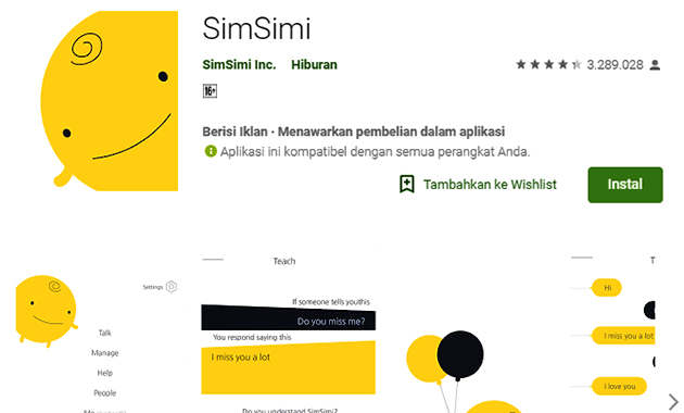 Aplikasi SimSimi Indonesia